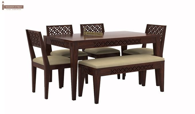 Cambrey 6 Seater Cushioned Dining Set With Bench (Walnut Finish)-1
