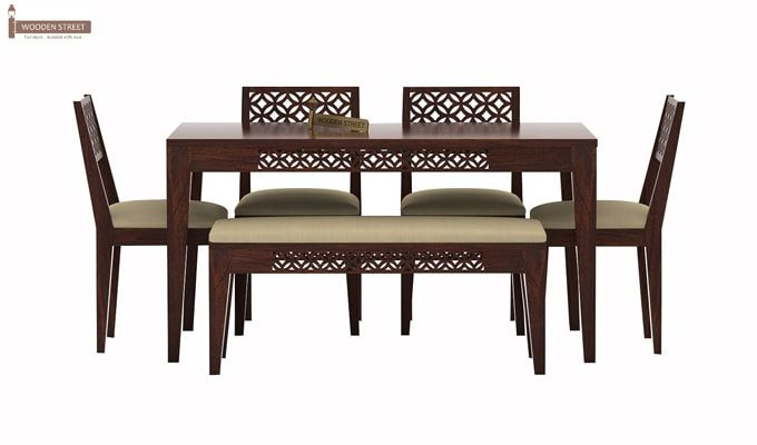 Cambrey 6 Seater Cushioned Dining Set With Bench (Walnut Finish)-2