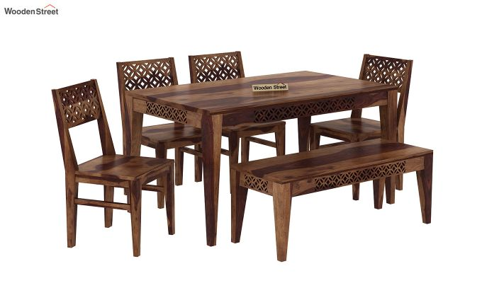 Cambrey 6 Seater Dining Set With Bench (Teak Finish)-2