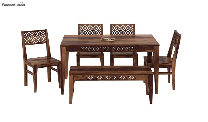 Cambrey 6 Seater Dining Set With Bench (Teak Finish)-3