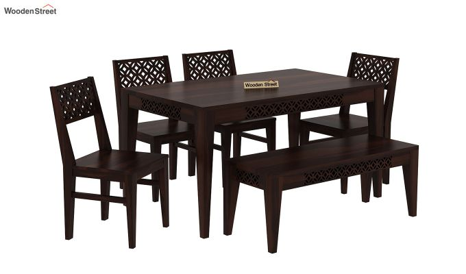 Cambrey 6 Seater Dining Set With Bench (Walnut Finish)-2