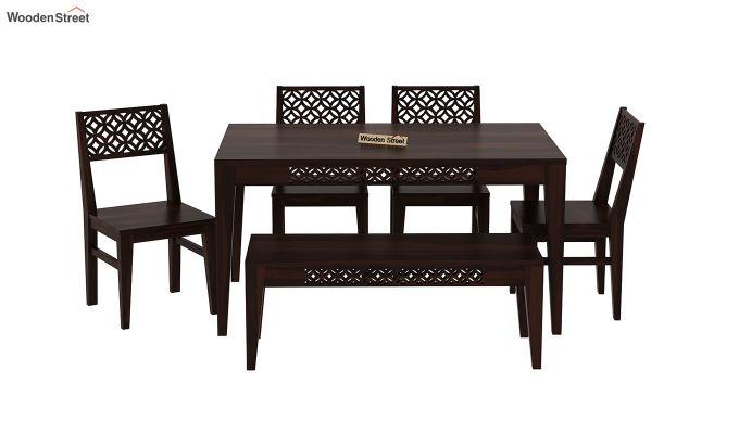 Cambrey 6 Seater Dining Set With Bench (Walnut Finish)-3