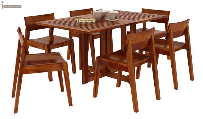 Canova 6 Seater Family Dining Table Set (Honey Finish)-2