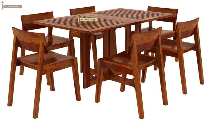 Canova 6 Seater Family Dining Table Set (Honey Finish)-3