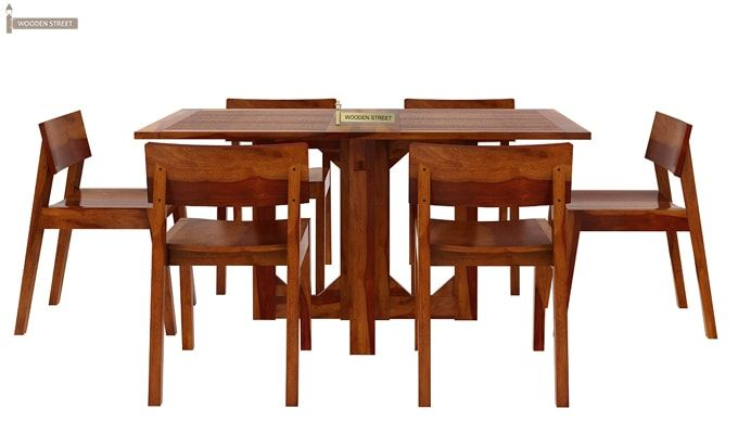 Canova 6 Seater Family Dining Table Set (Honey Finish)-4
