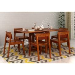 Canova 6 Seater Family Dining Table Set (Honey Finish)
