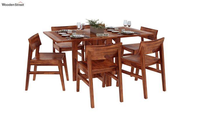Canova 6 Seater Family Dining Table Set (Honey Finish)-2
