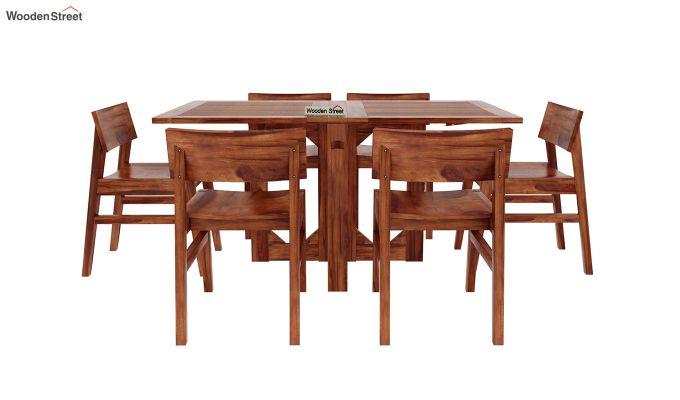 Canova 6 Seater Family Dining Table Set (Honey Finish)-3