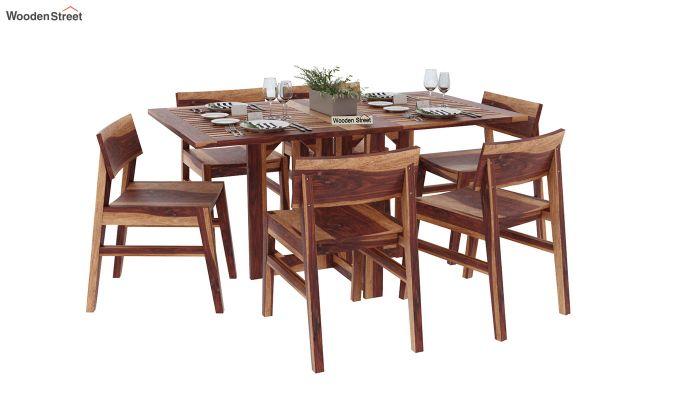 Canova 6 Seater Family Dining Table Set (Teak Finish)-2
