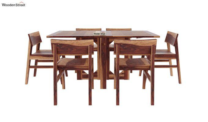 Canova 6 Seater Family Dining Table Set (Teak Finish)-3