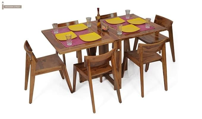 Canova 6 Seater Family Dining Table Set (Teak Finish)-1