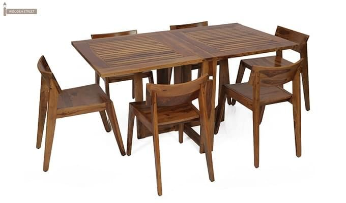 Canova 6 Seater Family Dining Table Set (Teak Finish)-2