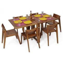 Canova 6 Seater Family Dining Table Set (Teak Finish)