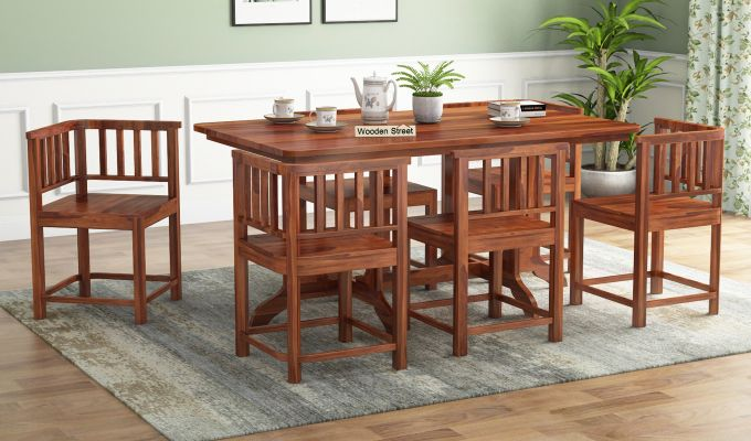 Cohoon 6 Seater Dining Set (Honey Finish)-1