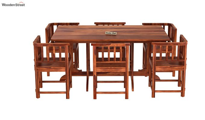 Cohoon 6 Seater Dining Set (Honey Finish)-5