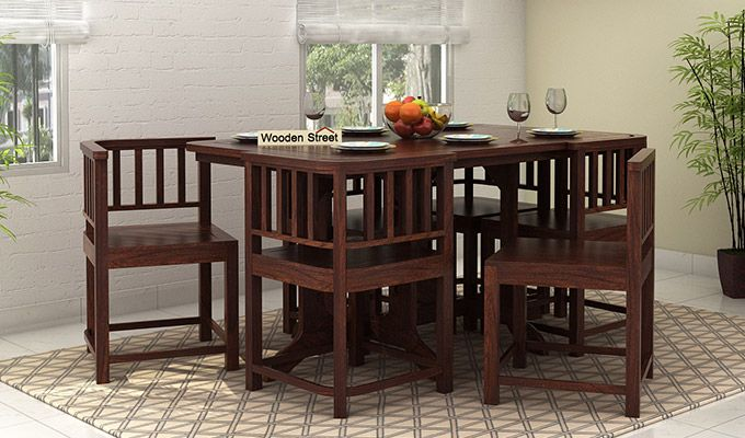 Cohoon 6 Seater Dining Set (Walnut Finish)-1