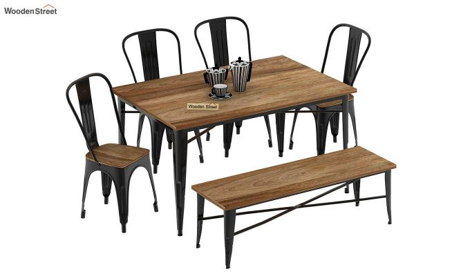 Cora Metal 6 Seater Dining Set with Bench (Natural Finish)-2