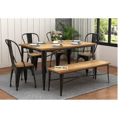 Cora Metal 6 Seater Dining Set with Bench