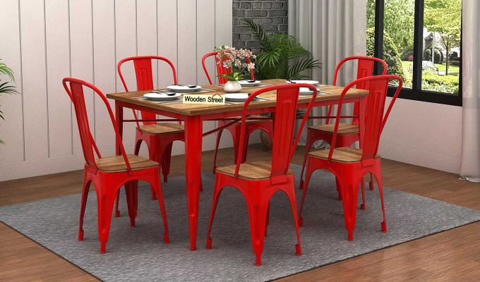 Cora Metal 6 Seater Dining Set (Natural Finish)-1