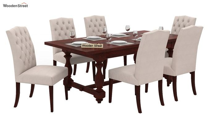 Elance 6 Seater Dinning Set (Mahogany Finish)-1