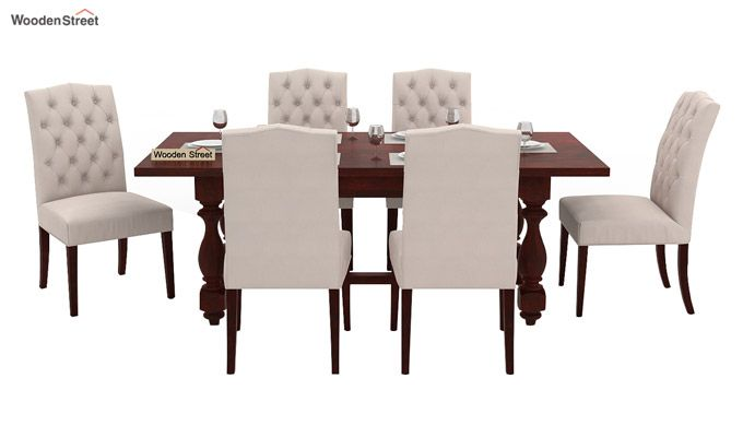 Elance 6 Seater Dinning Set (Mahogany Finish)-2
