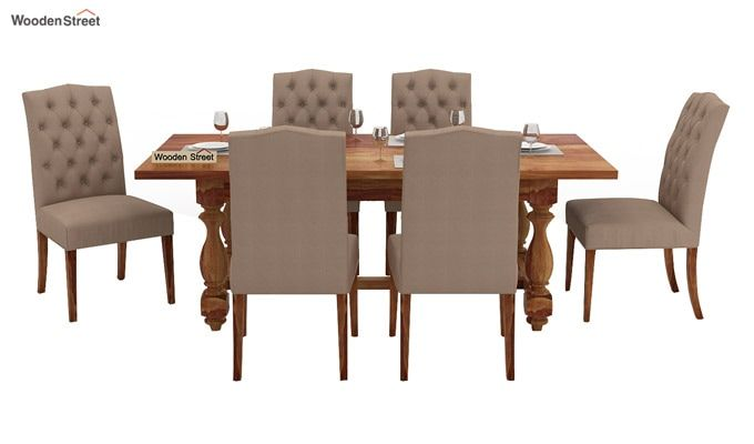 Elance 6 Seater Dinning Set (Teak Finish)-2