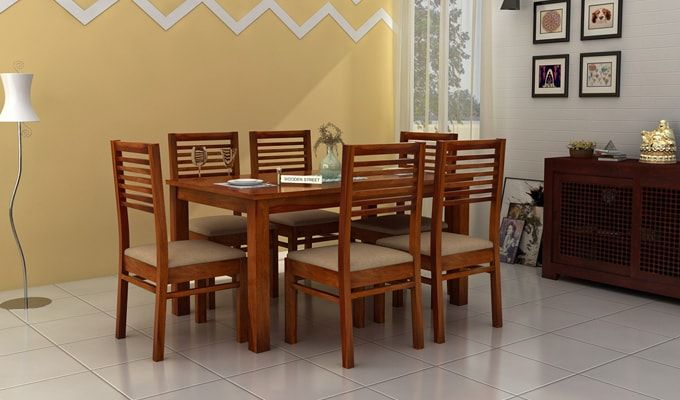 Florin 6 Seater Dining Table With Chairs (Honey Finish)-1