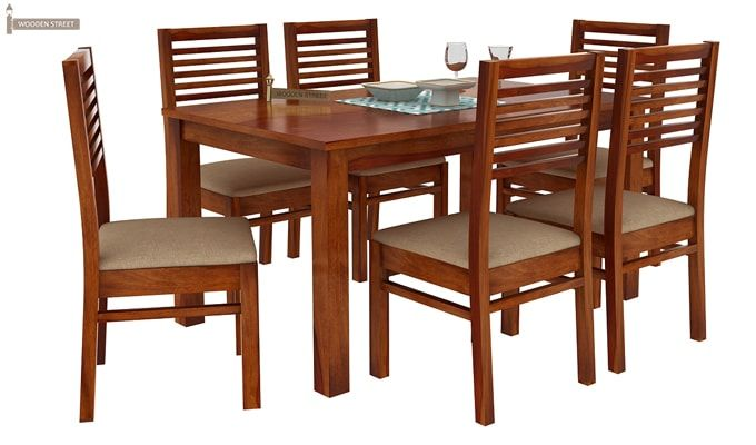Florin 6 Seater Dining Table With Chairs (Honey Finish)-2