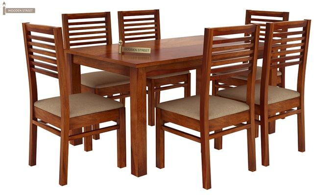 Florin 6 Seater Dining Table With Chairs (Honey Finish)-3