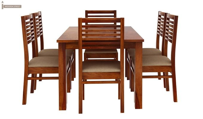 Florin 6 Seater Dining Table With Chairs (Honey Finish)-5