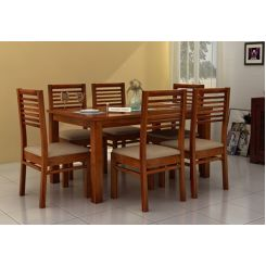 Florin 6 Seater Dining Table With Chairs (Honey Finish)
