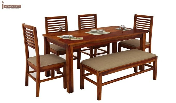 Lyon 6 Seater Dining Set With Bench (Honey Finish)-1