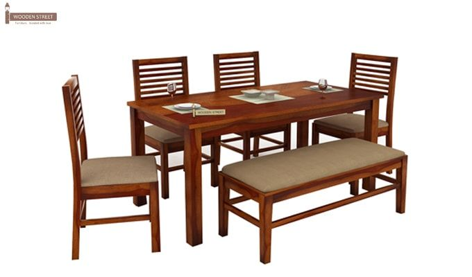 Lyon 6 Seater Dining Set With Bench (Honey Finish)-2