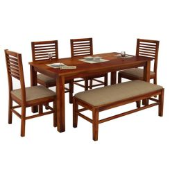 Lyon 6 Seater Dining Set With Bench (Honey Finish)