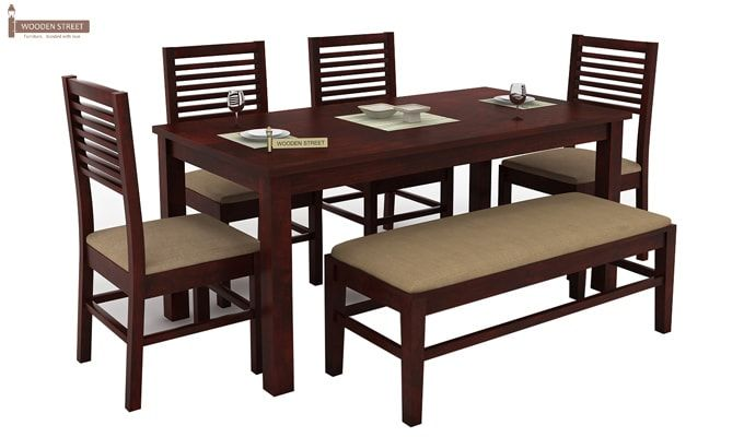 Lyon 6 Seater Dining Set With Bench (Mahogany Finish)-1