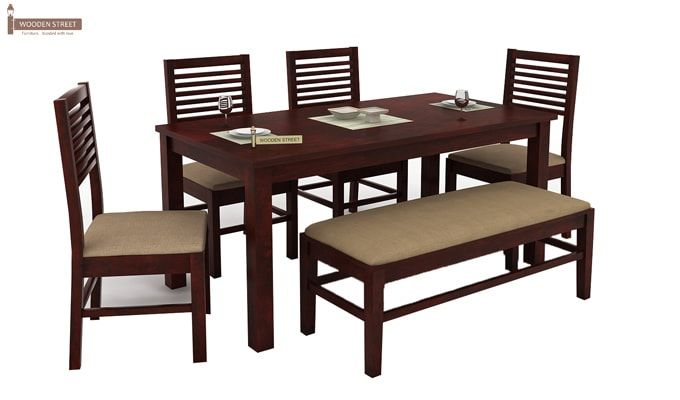 Lyon 6 Seater Dining Set With Bench (Mahogany Finish)-2