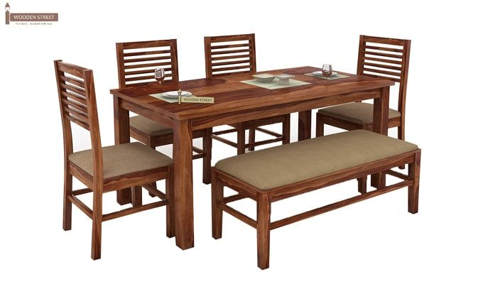 Lyon 6 Seater Dining Set With Bench (Teak Finish)-1