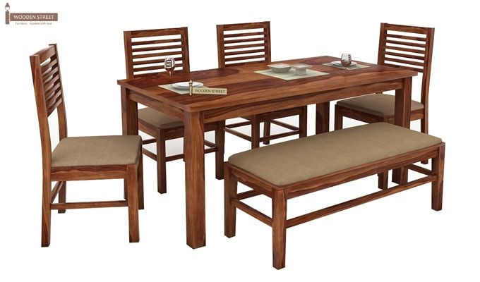 Lyon 6 Seater Dining Set With Bench (Teak Finish)-2