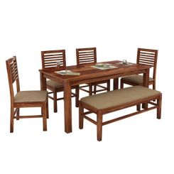 Lyon 6 Seater Dining Set With Bench (Teak Finish)