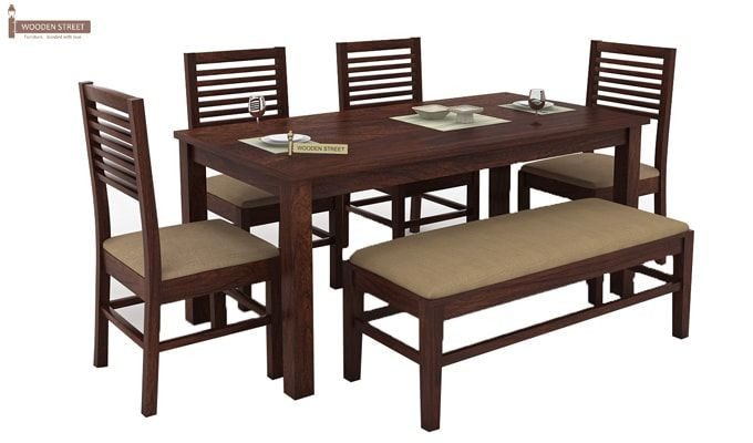 Lyon 6 Seater Dining Set With Bench (Walnut Finish)-2