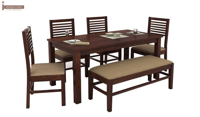 Lyon 6 Seater Dining Set With Bench (Walnut Finish)-3