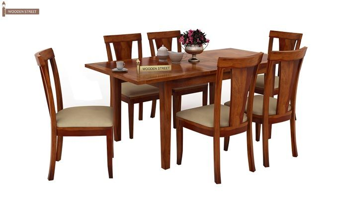 Franco Extendable 6 Seater Dining Set (Honey Finish)-1
