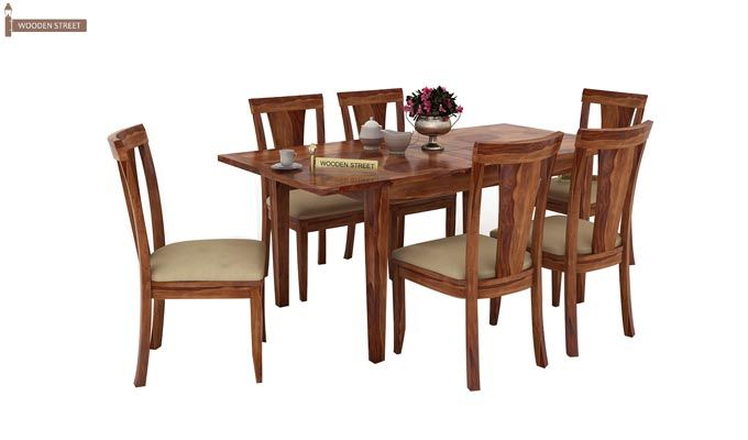 Franco Extendable 6 Seater Dining Set (Teak Finish)-1