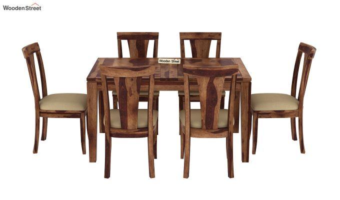 Franco Extendable 6 Seater Dining Set (Teak Finish)-5