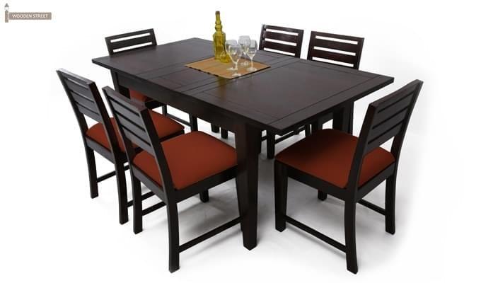 Advin 6 Seater Extendable Dining Set (Orange, Mahogany Finish)-1