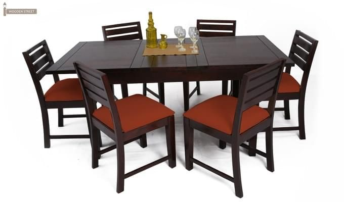 Advin 6 Seater Extendable Dining Set (Orange, Mahogany Finish)-2