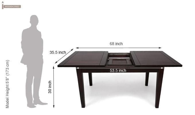 Advin 6 Seater Extendable Dining Set (Orange, Mahogany Finish)-12