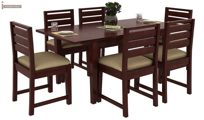 Advin 6 Seater Extendable Dining Set (Cream, Mahogany Finish)-2