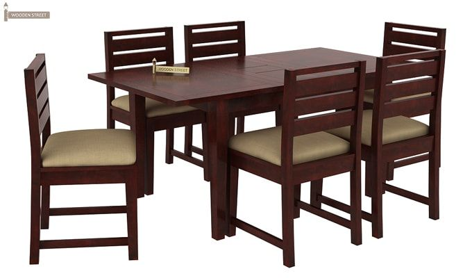 Advin 6 Seater Extendable Dining Set (Cream, Mahogany Finish)-3
