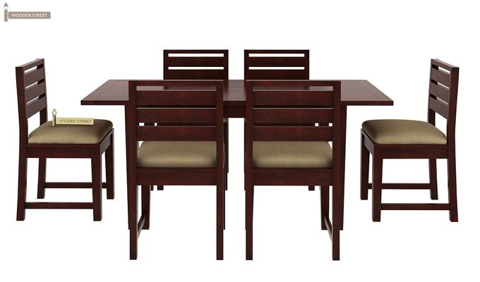Advin 6 Seater Extendable Dining Set (Cream, Mahogany Finish)-4